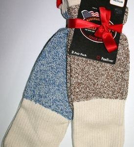 Rockford Red Heel Socks, MEDIUM SIZE (one pair blue, one pair brown)