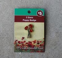 Badge – Poppy Three Stem