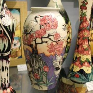 Moorcroft – 'Courtship Dance' Crane Vase