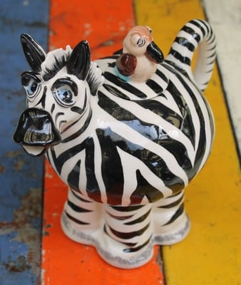 Zebra Teapot - with bird lid