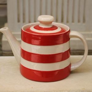 Cornishware Traditional Shaped Teapot - Red/White