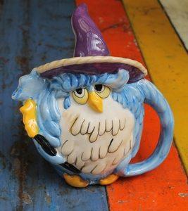 Owl Wizard Teapot – Blue