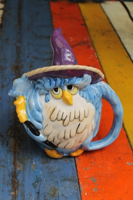 Owl Wizard Teapot - Blue