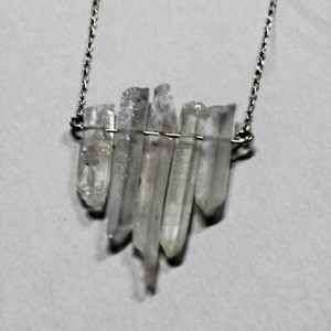 Clear Crystal Quartz Rod Necklace