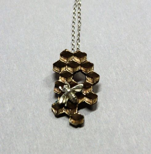 Bee on Honeycomb Necklace