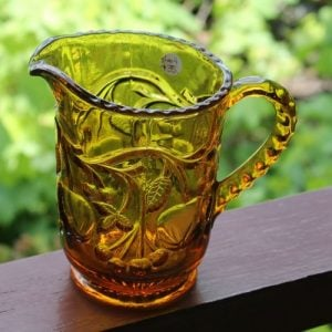 Depression Glass Jug – Cherries Amber
