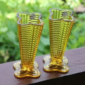 Depression Glass Vase Duo – Amber