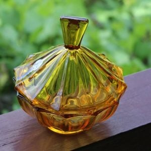 Depression Glass Lidded Bowl – Amber
