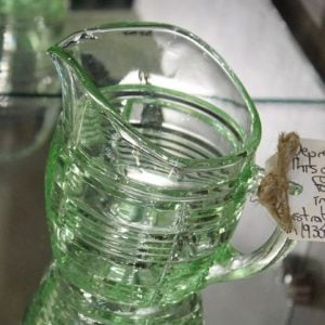 Depression Glass Jug - Green with Stripes