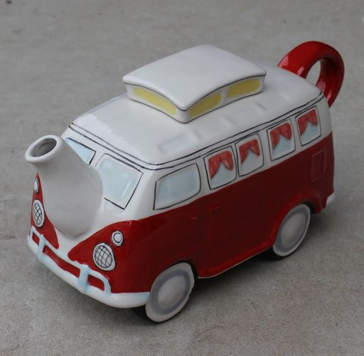 Teapot - Retro Red Combi Van