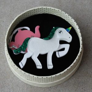 Erstwilder Brooch – Ula Unicorn, green