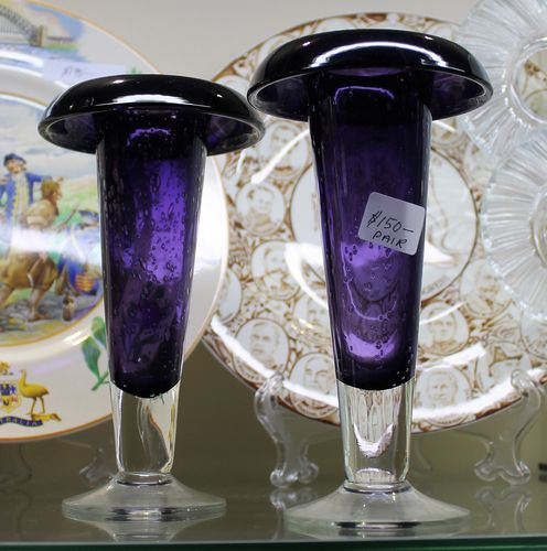 Amethyst Art Glass Vases