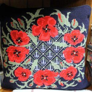 Tapestry Poppy Cushion