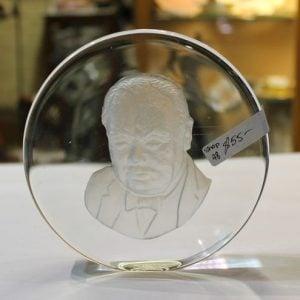 Winston Churchill Glass Plaque