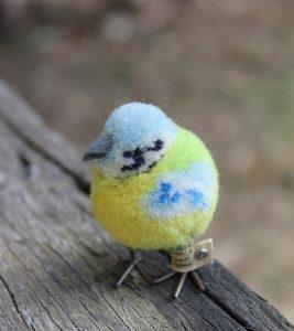 Steiff Blue Tit Bird Woollen 8cm – vintage