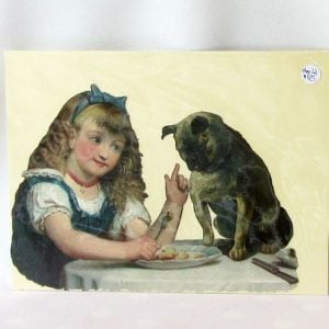 Scrap - Girl Feeding a Pug Dog