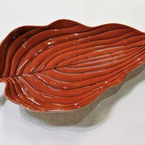 Carlton Ware Leaf Dish – Pinstripe Dark