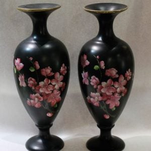 morpeth antique centre hunter valley carlton ware cherry blossom vase pair 1894 - 1906 hand painted