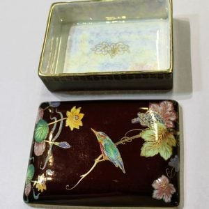morpeth antique centre hunter valley carlton ware rouge royal lidded box kingfisher bird