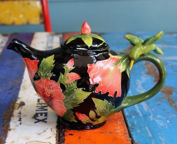 morpeth gift gallery hunter valley novelty teapot green hummingbird pink hibiscus functional six cup collectable