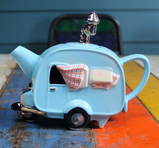 morpeth gift gallery hunter valley novelty teapot teapottery england cup collectable retro caravan blue four two