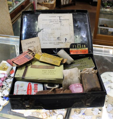 morpeth antique centre hunter valley first aid kit metal box suitcase vintage world war two WWII era