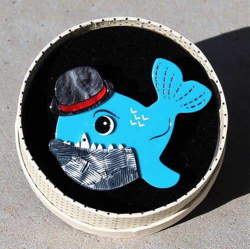 morpeth antique centre hunter valley erstwilder brooch pedro piranha south american fish animal resin retro collectable