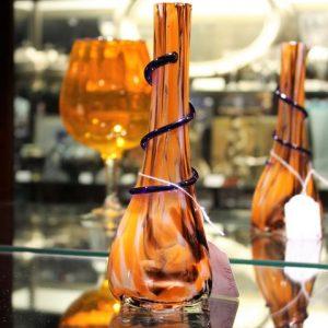 Art Glass Vase – Orange & Blue