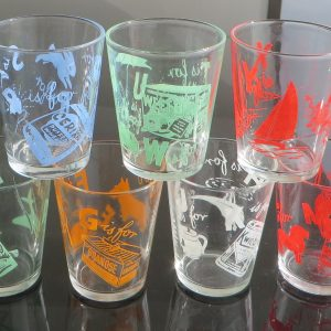 Sanitarium Swanky Swig Alphabet Glasses – set of seven