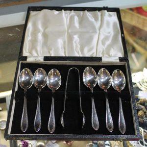 morpeth antique centre hunter valley set six silver plate epns teaspoon sugar nips boxed vintage