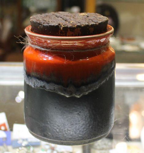 morpeth antique centre hunter valley ellis pottery australian 1969 retro orange brown collectable cannister lidded jar barrel