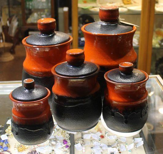 morpeth antique centre hunter valley ellis pottery australian 1969 retro orange brown collectable cannister set five lidded jar barrel