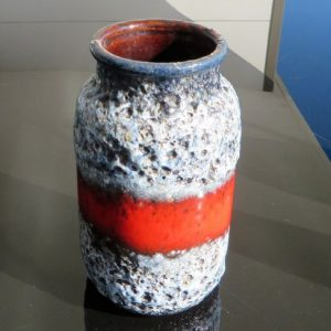 morpeth antique centre hunter valley west german pottery fat lava era vase red black white