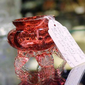 Cranberry Glass Salt Bowl