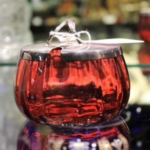 Cranberry Glass Lidded Bowl
