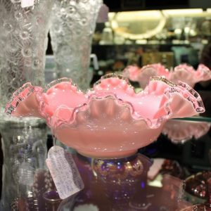 Victorian Pink Glass 'Ruffle' Bowl