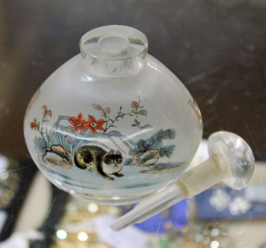 morpeth antique centre hunter valley chinese snuff scent bottle hand painted internal glass picture perfume applicator