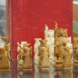 Carved Ivory Oriental Chess Set & Book
