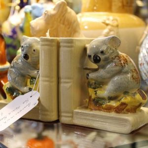 morpeth antique centre hunter valley australian ceramic pottery bookends koala native fauna animal teddy bear