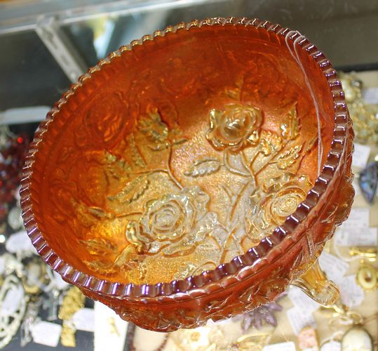 morpeth antique centre hunter valley footed carnival australian glass bowl roses vintage