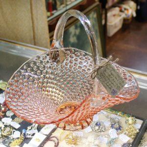 Depression Glass Basket Shaped Bowl