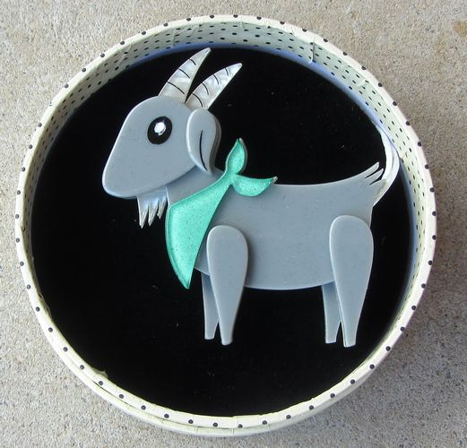 morpeth antique centre hunter valley erstwilder brooch billie the kid goat retro pin up collectable
