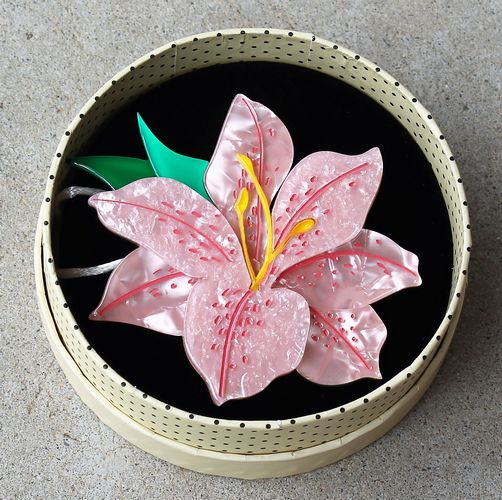 morpeth antique centre hunter valley erstwilder brooch necklace earrings frilly lily frond pink in full bloom flower pot plant splendour resin retro collectable