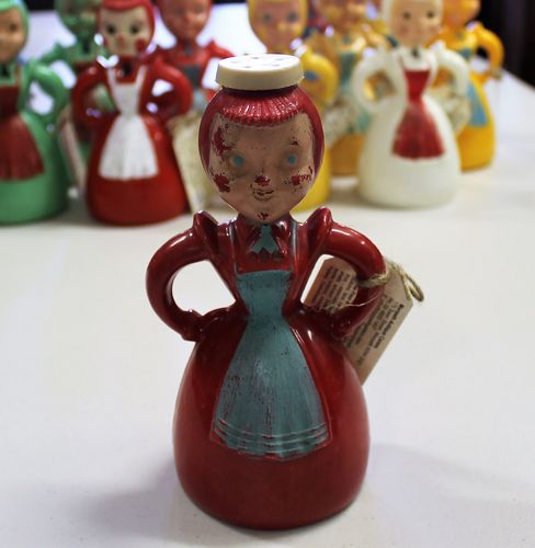 morpeth antique centre hunter valley merry maid red blue apron australian early plastic laundry sprinkler retro