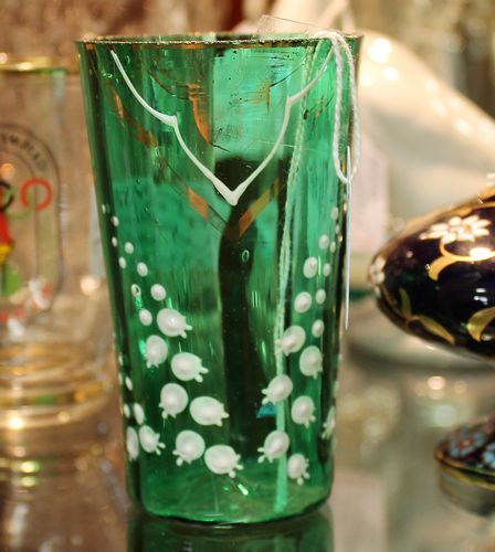 morpeth antique centre hunter valley northumberland antiques mary gregory victorian green glass tumbler drinking