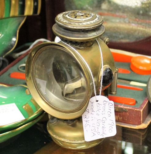 morpeth antique centre hunter valley northumberland antiques brass carbide bike lamp made in USA
