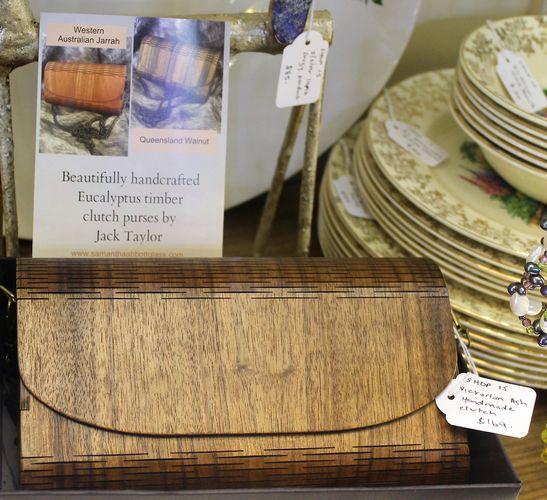 morpeth antique centre hunter valley timber clutch handbag purse australian made