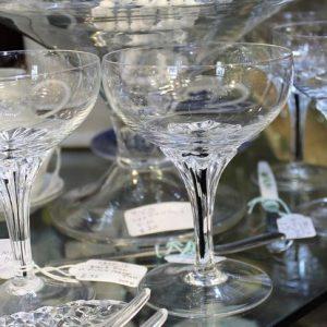 Set of Four Black Stem Cocktail Glasses