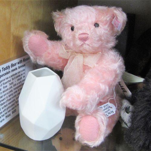 Morpeth Teddy Bears Steiff Rose, with Rosenthal porcelain vase
