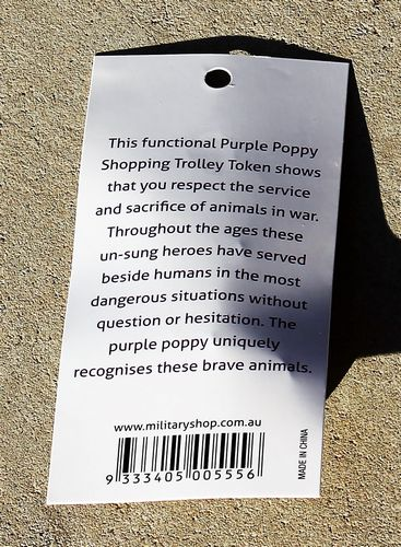 morpeth antique centre gift gallery hunter valley war memorabilia WWI WWII world one two flander's field poppy purple badge pin animal sacrifice